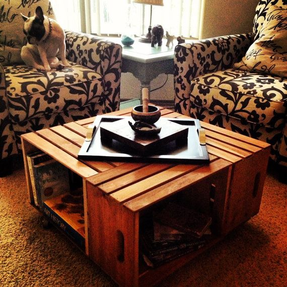 Repurposed Crate Coffee Table By Stephaniesapartment On Etsy H O M E Living Room Pinterest