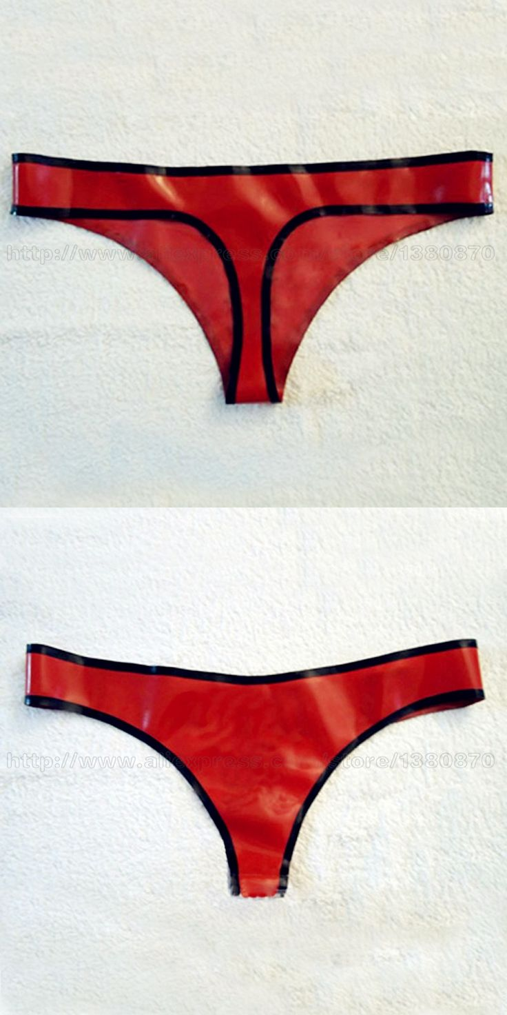 Red and Black Erotic Sexy Women Red Thongs Lingerie Latex Shorts Underwear G-strings Fetish Costume LPW004