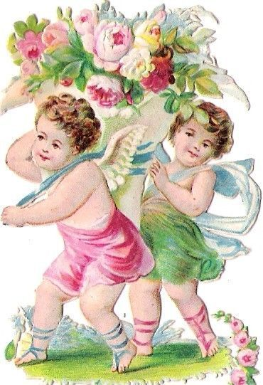 Oblaten Glanzbild scrap die cut chromo Engel angel Amor cupid