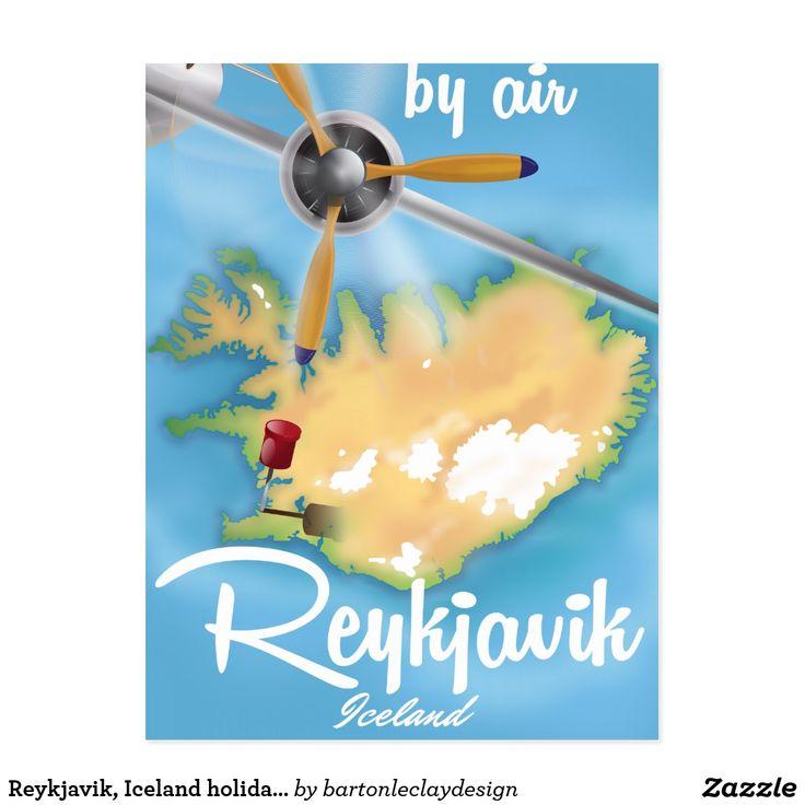 Reykjavik, Iceland holiday travel poster Postcard