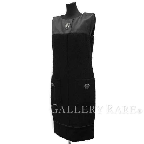 シャネル ワンピース ツイード ノースリーブ ココボタン ウール シルク 15B CHANEL 服 レディースサイズ36 黒 ビジュ ドレス