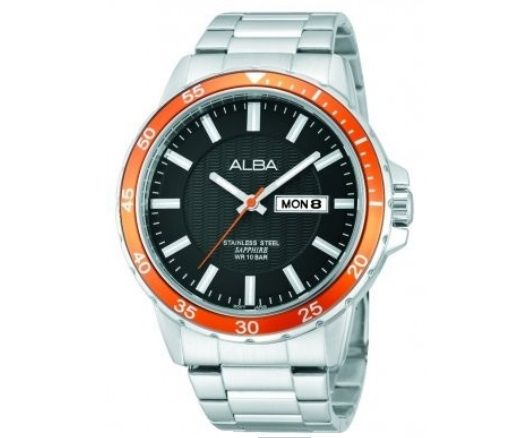 Buy Alba Gents Watch online with round display and analogue calendar type. To buy visit - http://www.souqelkhaleej.com/alba-gents-watch-metal-strap-av3129x1.html