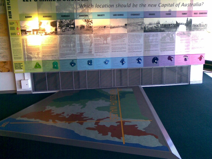 Museum interactive display. Led display controlled by embedded contacts and interlocking shapes in floor.