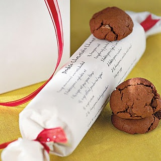 Cover freezer cookies with white paper with recipe/directions, twist and tie both ends with a ribbon for gifting.