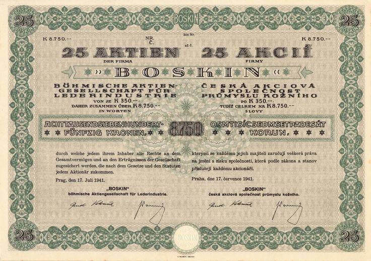 BOSKIN, Česká akciová společnost průmyslu kožního (Boskin, böhmische AG für Lederindustrie). Akcie na 25x 350 Korun (8 750 K). Praha, 1941.