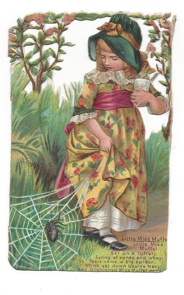 Victorian Die Cut Scraps Little Miss Muffet Who Sat on a Tuffet