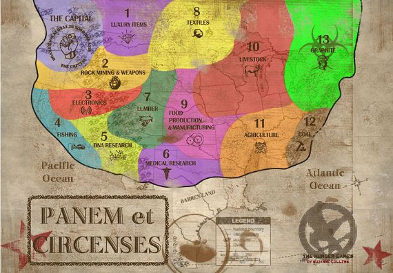 The Hunger Games:  Picture of the 13 districts of Panem
