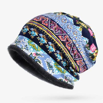 df6e0a63047 Women Cotton Print Stripe Beanie Hats Casual Outdoor For Both Hats And  Scarf Use