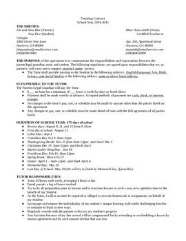 Private tutoring contract (word doc). Save yourself from headaches and make tutoring easier for everyone! :)