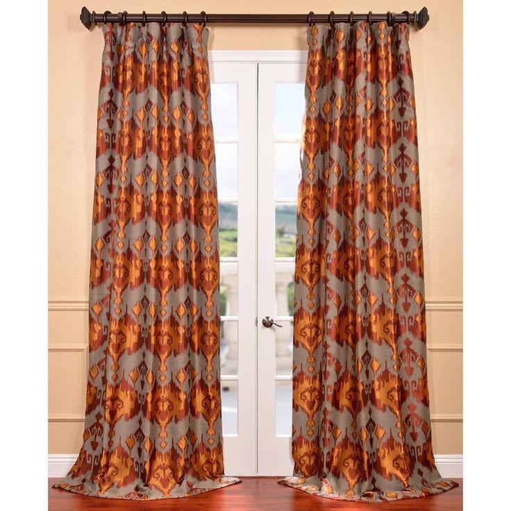 Borneo Rust Ikat Jacquard Curtain Panel