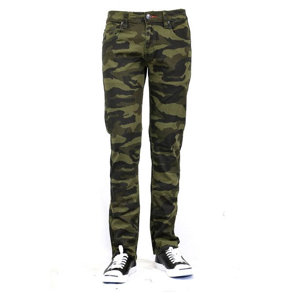 Bleu Evolution MEN'S CAMO PRINT SKINNY JEANS - GREEN ($38) ❤ liked on Polyvore featuring men's fashion, men's clothing, men's jeans, camo olive, mens camo jeans, mens camouflage jeans, mens green jeans, mens jeans and mens green skinny jeans