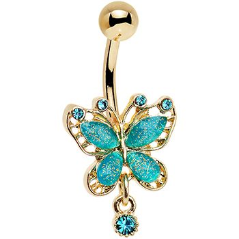 Aqua Glitter Gem Gold Anodized Butterfly Drop Dangle Belly Ring | Body Candy…