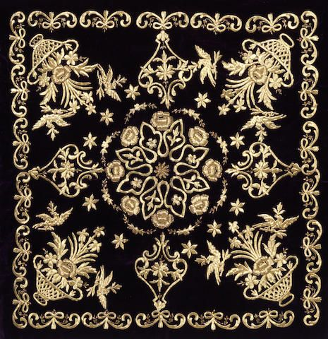 A group of five Ottoman metal thread embroidered textiles, Turkey, 19th century.