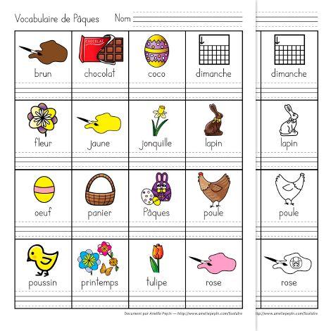 Fichier PDF téléchargeable Versions en couleurs et en noir et blanc incluses 2 pages  Sur cette feuille, les éléments de Pâques sont écrits et illustrés. Une ligne avec trottoirs au-dessous de chaque mot permet à l'élève d'apprendre à écrire ce nouveau vocabulaire.