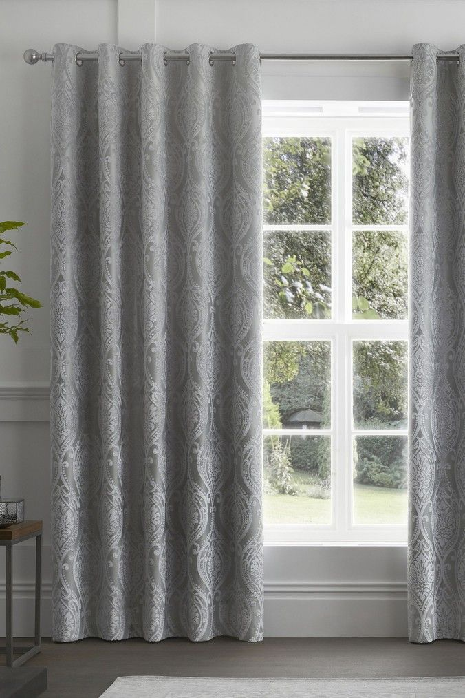 Buy Curtina Chateau Textured Chenille Damask Lined Eyelet Curtains From The Next Uk Online Shop In 2020 Grey Curtains Living Room Grey Curtains Curtains