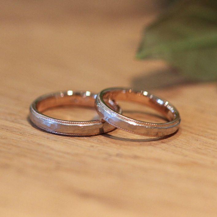 二色のリングをそれぞれつくり、ひとつに合わせて完成する結婚指輪/ Pt/K18PG マリッジリング  [marriage,wedding,ring,]