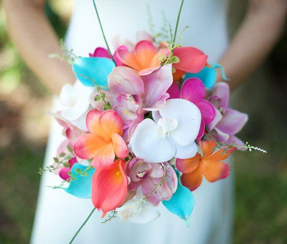 Nozze di corallo arancione, rosa e turchese orchidee alzavola tocco naturale, Callas e Plumerias seta fiore Bouquet sposa