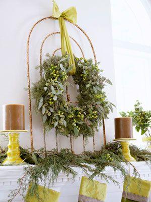 Christmas decor: Christmas Decor Ideas, Mantel Decor, White Christmas, Gardens Gates, Irons Gates, Old Gates, Wreaths, Christmas Mantles, Christmas Mantels