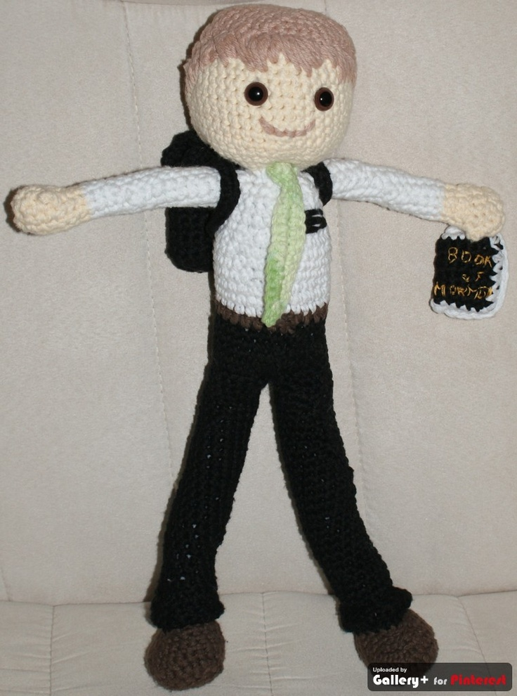 Crocheted missionary doll....  My son is serving a mission for the Church of Jesus Christ of Latter Day Saints in Chile. i crocheted this doll to send to his girlfriend while he is gone for two years.