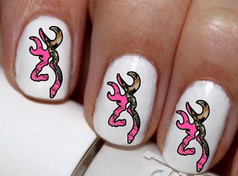 20 pc Pink Camo Deer Buck Head Nail Art Nail by EasyNailTrends