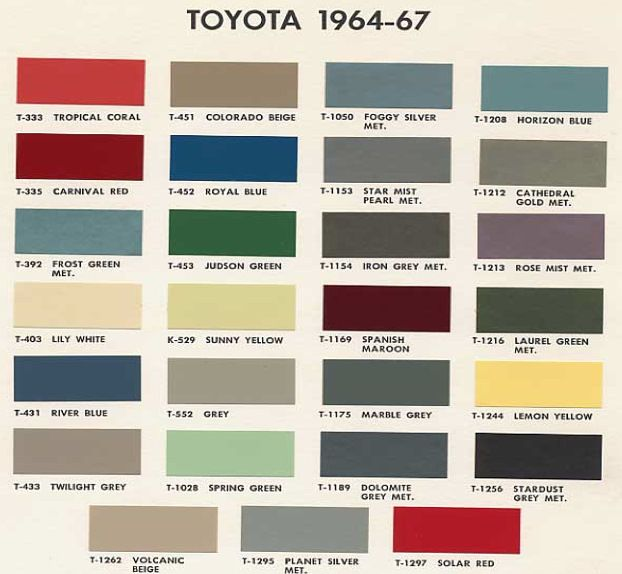 Cruiser Color Codes Paint Color Codes Toyota