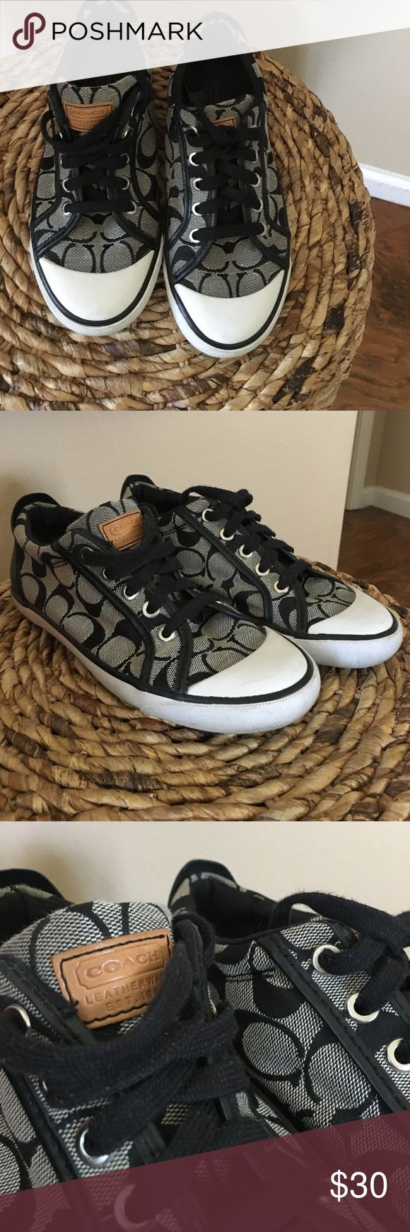Size 6 coach tennis shoes Mint condition Coach tennis shoes in black and grey. Size 6 medium. No stains, smells etc. come from a smoke / pet free home✌🏻 Coach Shoes Sneakers