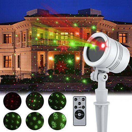 Projecteur LED Étanche Lumière de Décoration Noël Extérieur Spot Etoilé Rouge Vert ou 5 Dessin Multi Motif en Mouvement Vitesse Minuterie…