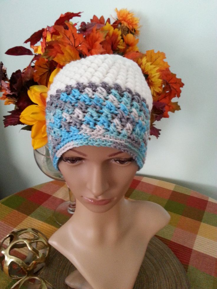 Crochet Women's Hat, Crochet Hat, Cute Winter Hat,Beanie, Blue and White Hat, Women's Accessories by MaraLunaDesign on Etsy
