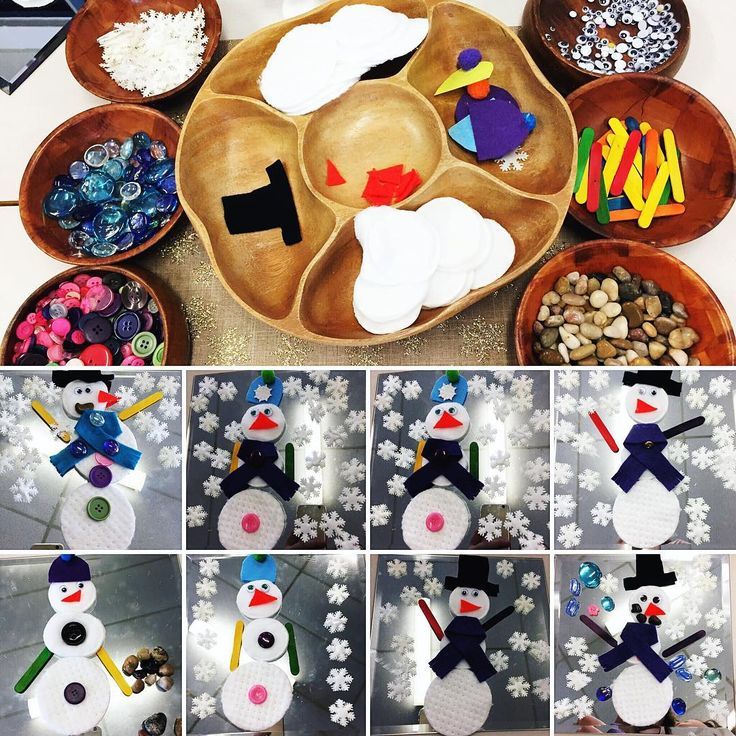 """41 Likes, 5 Comments - Laura King (@kindergartenteachertired) on Instagram: """"Loose parts snowmen on mirrors ☃️☃️☃️☃️"""""""