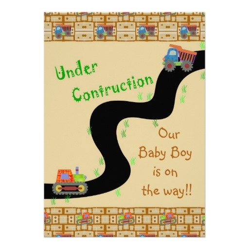 Boy Baby Shower Under Construction Invitations