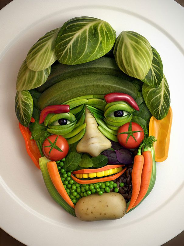Vegetable Face by Alex J. Jefferies This is creepy I don't think I could eat my veggies if this was put in front of me