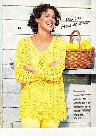 TRICO y CROCHET-madona-mía: Jersey Amarillo con esquema