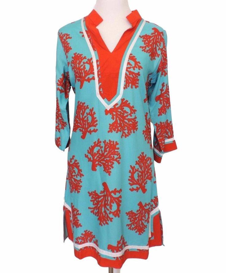 Escapada Mimi Dress Aqua Melon Barrier Reef Size Medium Resort Wear New #Escapada #Tunic