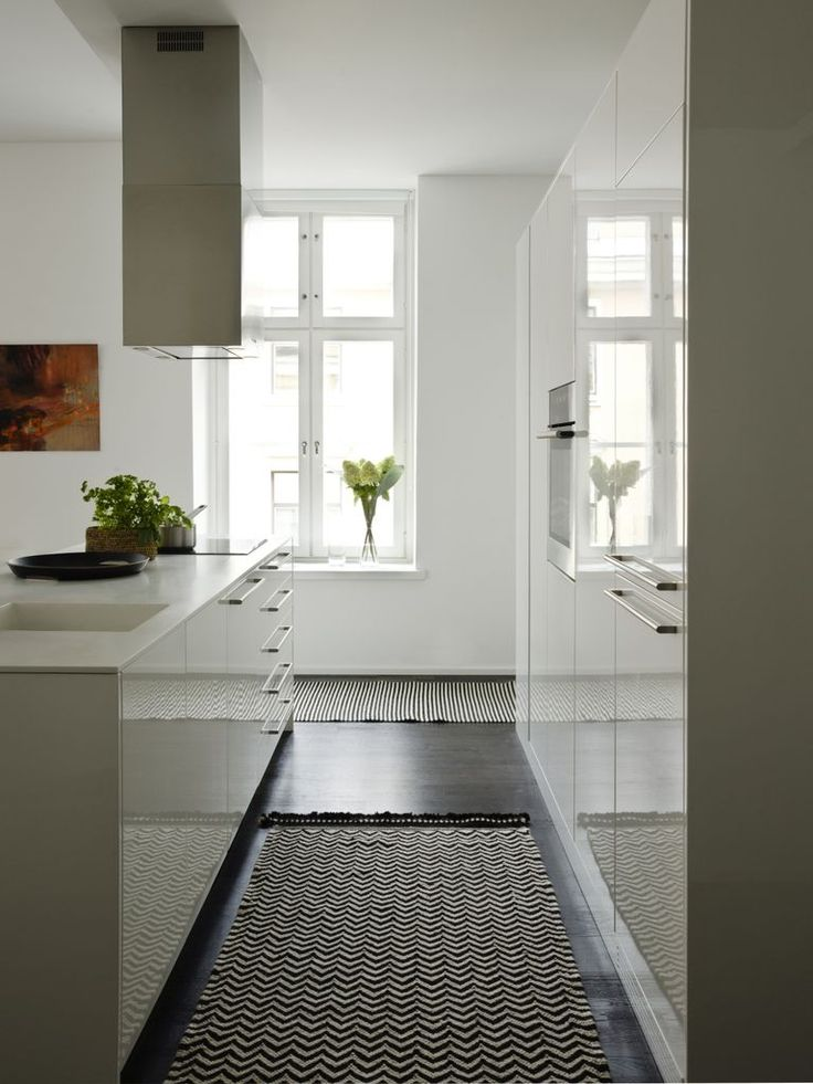 We love Tikau Zick Zack, 80 x 180 cm, black&white hand made wool carpet in this cool kitchen in Helsinki www.tikau.com