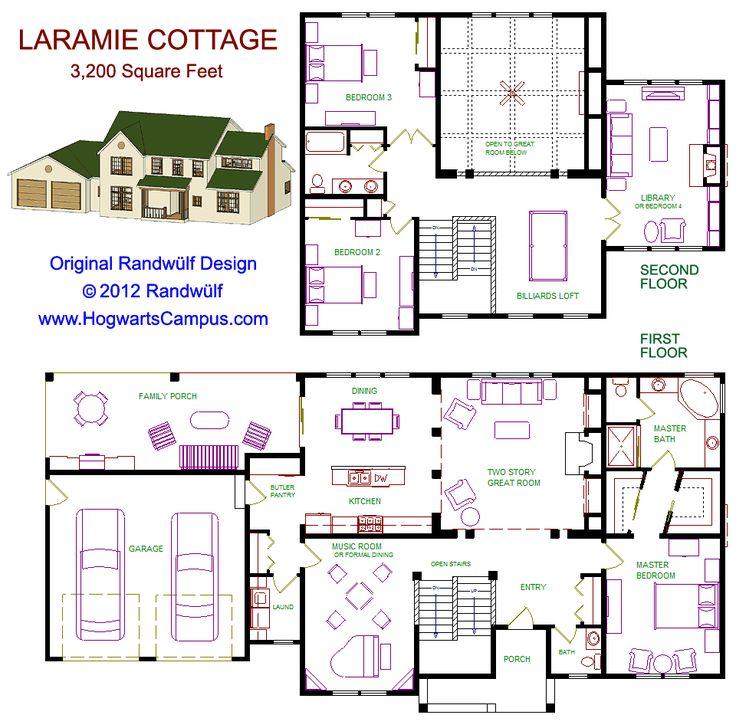 Laramie cottage floor plan casas pinterest cottage for Floor plans large houses