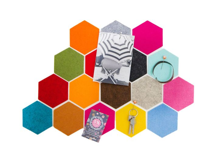 HEXAGON 4er Set FILZ Untersetzer Pinnwand Glasuntersetzer / 34 Farben