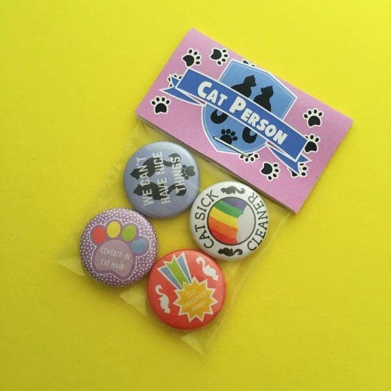 Cat Person Achievement Badge Pack  Button Badges
