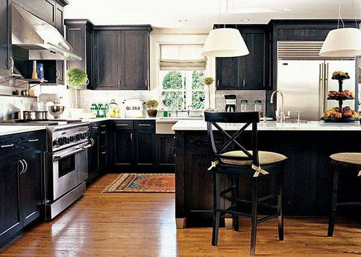 Kitchen Black And White Kitchen Decorating Themes With Stylish Wooden  Cabinet And Long Island And Comfy Stools And Sleek Dark Wood Floors In  Kitchen Modern ...
