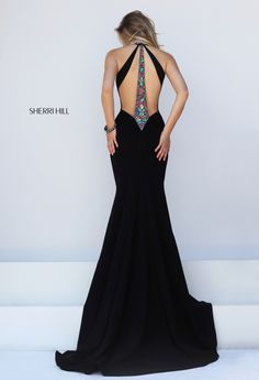Sherri Hill Style 50122: Prom dress, open back, beading, detail, keyhole halter, black, multi. Color: black/multi