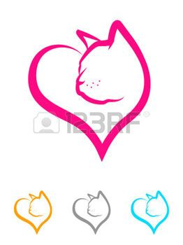 Illustration eines K�tzchens Gesicht in einer Herzform photo