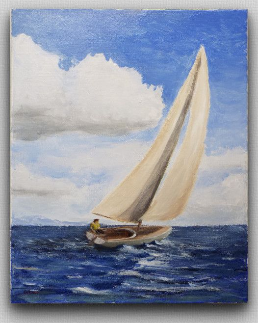 Sailboat Painting Acrylic on 16x20 inch Canvas by MarshVioletDesigns at Etsy