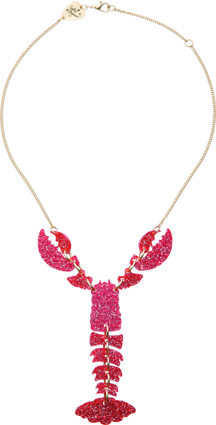Lobster Necklace - Glitter Red - £40: http://www.tattydevine.com/lobster-necklace-glitter-red.html