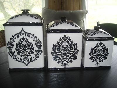 222 Fifth 3 PC Canister Set Black White  eBay  For the