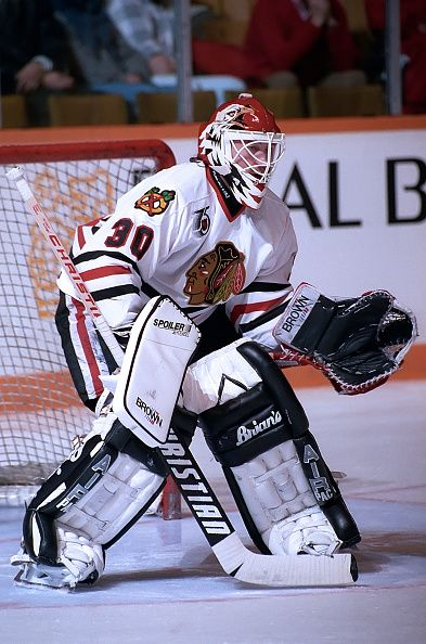 Ed Belfour of the Chicago Black Hawks prepares for a shot against the Toronto Maple Leafs during game action on February 29 1992 at Maple Leaf...