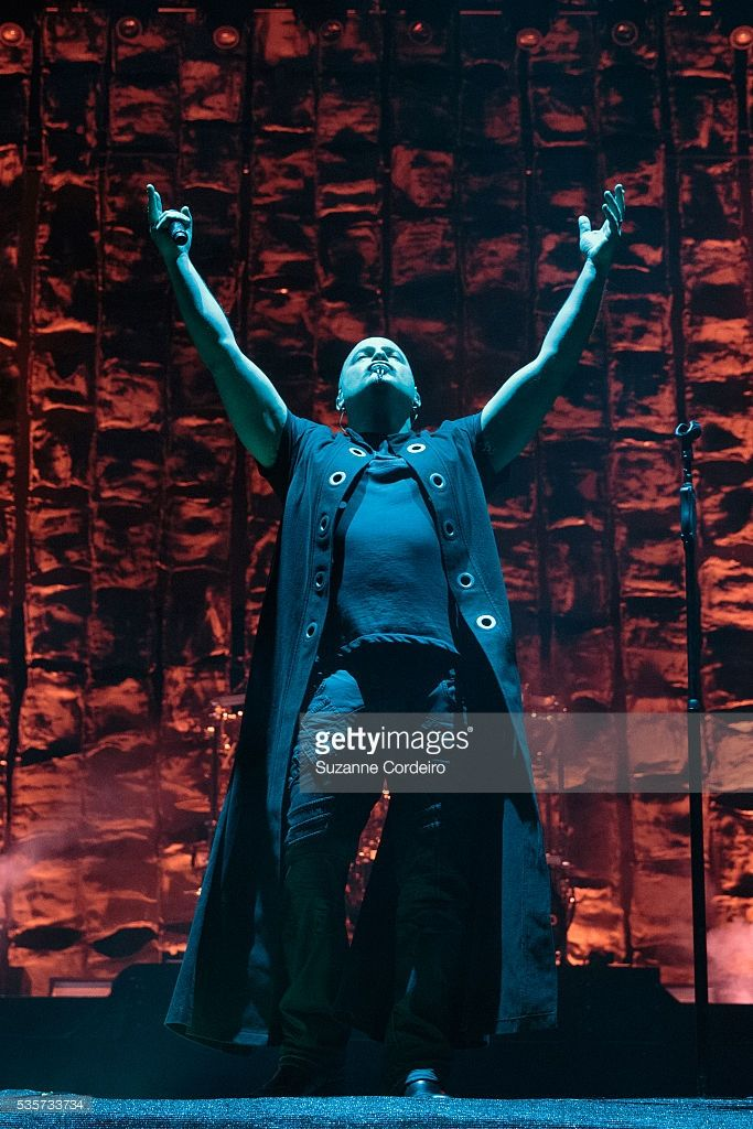 David Draiman of the band Disturbed performed onstage during River City Rockfest at AT&T Center on May 29, 2016 in San Antonio, Texas.