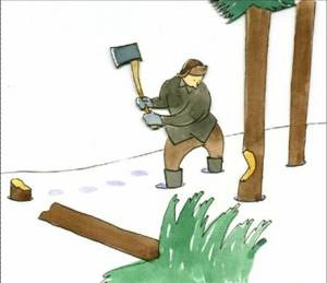 Suatu hari, seorang penebang kayu yang sangat kuat meminta pekerjaan di sebuah perusahaan kayu dan dia mendapatkannya. Bayaran yang diperolehnya benar-benar baik dan begitu juga dengan suasana