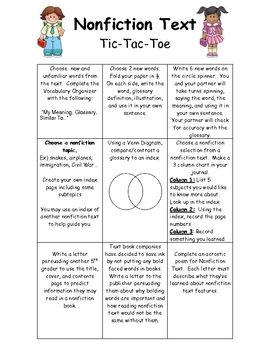 Let your students apply and/or practice nonfiction text conventions with this Tic Tac Toe reading task. This activity allows students to choose 3 a...