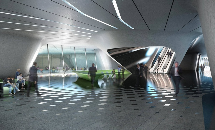 ceiling light lines by Zaha Hadid architects in Dubai Financial Market