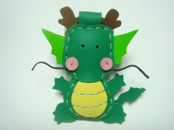 Puff the Magic Dragon leather keychain  Green  by leatherprince, $22.90