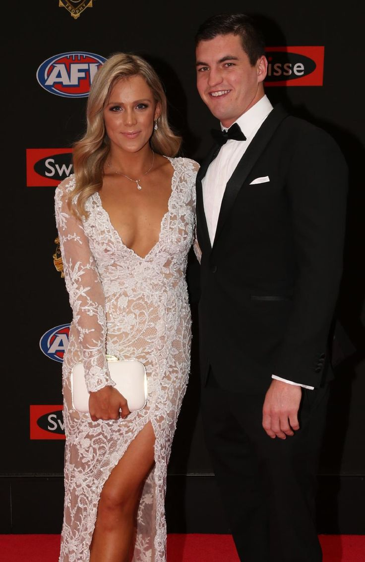 Tom Rockliff of Brisbane and partner Josie Charman arrive on the red carpet for the 2015 AFL Brownlow Medal presentation held at Crown Casino on Monday, September 28, 2015, in Melbourne, Victoria, Australia. Picture: Tim Carrafa